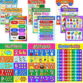 Educational Preschool Poster for Toddler and Kid with Glue Point Dot for Nursery Homeschool Kindergarten Classroom - Teach Numbers Alphabet Colors Days and More 16 x 11 Inch  12 Pieces English Style