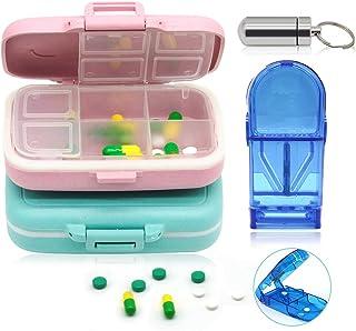 Sayopinウォレットとポケット用の毎週の医薬品保管バッグ、7日間の防湿ピルボックス3PCSの医薬品保管バッグ、ピルカッター付きピルジャー、ビタミンフィッシュオイルサプリメント