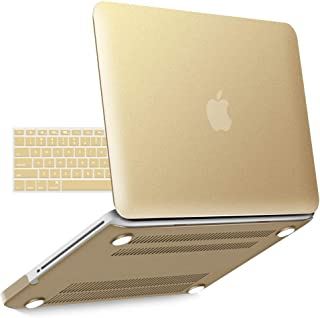 IBENZER Old MacBook Pro 13 Inch case A1278, Soft Touch Hard Case Shell Cover with Keyboard Cover for Apple MacBook Pro 13 with CD-ROM, Gold, MMP13BGD+1A
