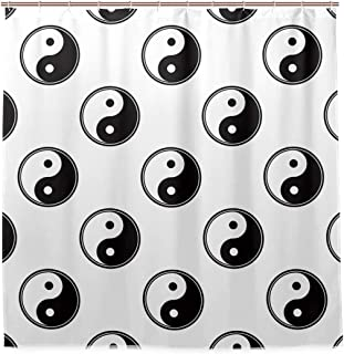 XUWU Waterproof Bath Curtain Tai Chi Bagua Yin Yang Bathroom Shower Curtain Home Decor 72 x 72 in with Hooks