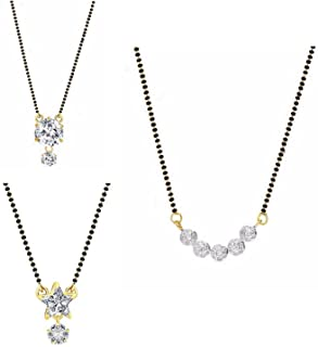 Efulgenz Gold & Rhodium Plated and American Diamond Mangalsutra Pendant With Chain for Women's (Set of 3)