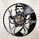 ZZLLL Peluquería Reloj de Pared barbería Disco de Vinilo Reloj de Pared salón de Belleza decoración Reloj precisión Corte de Pelo Arte de Pared