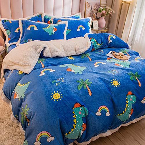 juegos de sábanas 105 x 190-Leche cordero de terciopelo de cuatro piezas de terciopelo de coral sábana funda nórdica invierno grueso de doble cara cálido franela regalo de cama-V_Cama de 2,0 m (4 pie
