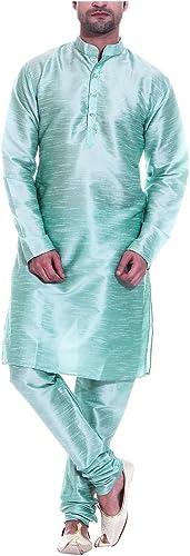 Royal Tag 7 Hommes's Art Silk Kurta Pyjama 38 vert