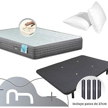 Dulces Sueños Pack COLCHON VISCOELASTICO Premium + Base TAPIZADA 3D + Patas + Almohada VISCO (90 x 190 cm): Amazon.es: Hogar