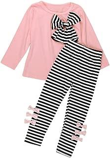 Toraway 2 Pcs/Set Kids Girls Clothes Long Sleeve Bowknot T-Shirt Dress+ Long Pants Outfit Clothes Set