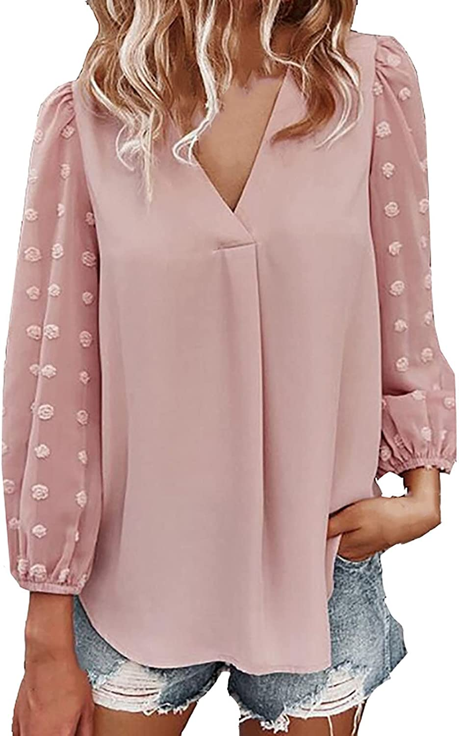 Chiffon Shirts for Women Sexy V Ball Credence Long Embroidery Neck Nippon regular agency S Hair