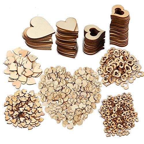 TOKERD Klein Holzherzen für Basteln Hochzeit Deko,500 Holz Herzen Scheiben Naturholzscheiben Gemischt Größen Holzscheiben Herz für Tischdeko Bilderrahmen Deko DIY Handwerk Verzierungen