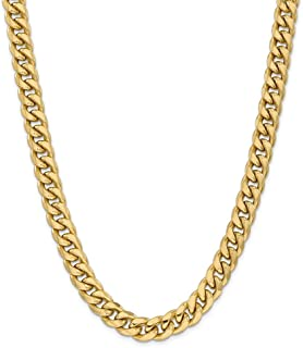 14k Yellow Gold 11mm Miami Cuban Chain Necklace 24 Inch Pendant Charm Curb Fine Jewelry For Women Gift Set