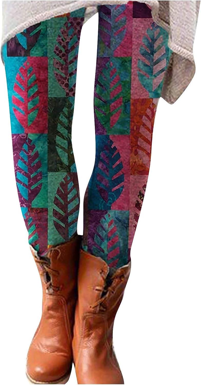 Gwewei4df Very popular Women Printed Sexy Leggings Pants Elastic Raleigh Mall Waist Slim C