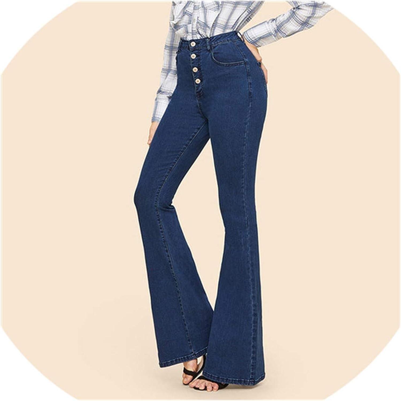 bluee Button Up Flare Hem Jeans Woman Long Denim Trousers Vintage Pants