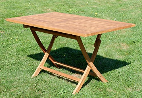 ASS ECHT Teak Holz Klapptisch Holztisch Gartentisch Tisch in verschiedenen Größen von Größe:140x80 cm - 2