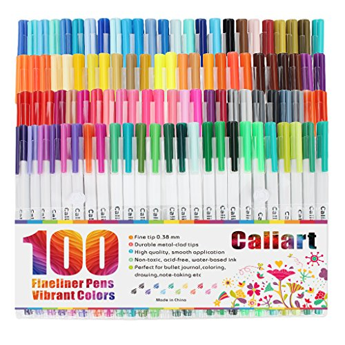 Caliart Fineliner Color Pens Set 100 Colors Fine line Drawing Pen Set,...
