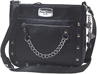 Harley-Davidson Women's Chain Gang Leather Crossbody Purse, Black CG2342L-BLK