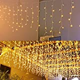 JIAMEIYI LED Icicle Lights, Curtain Fairy Hanging Lights String 8 Modes 13FT 96 LEDs Christmas Extendable Plug in Lights for Party Ceiling Balcony Patio Outdoor Indoor Decoration (Warm White, 4)