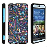 TurtleArmor | Compatible with HTC Desire Eye Case [Slim Duo] Slim Snap On 2 Piece Hard Cover Protector Case Girls on Black - Colorful Tribal Abstract
