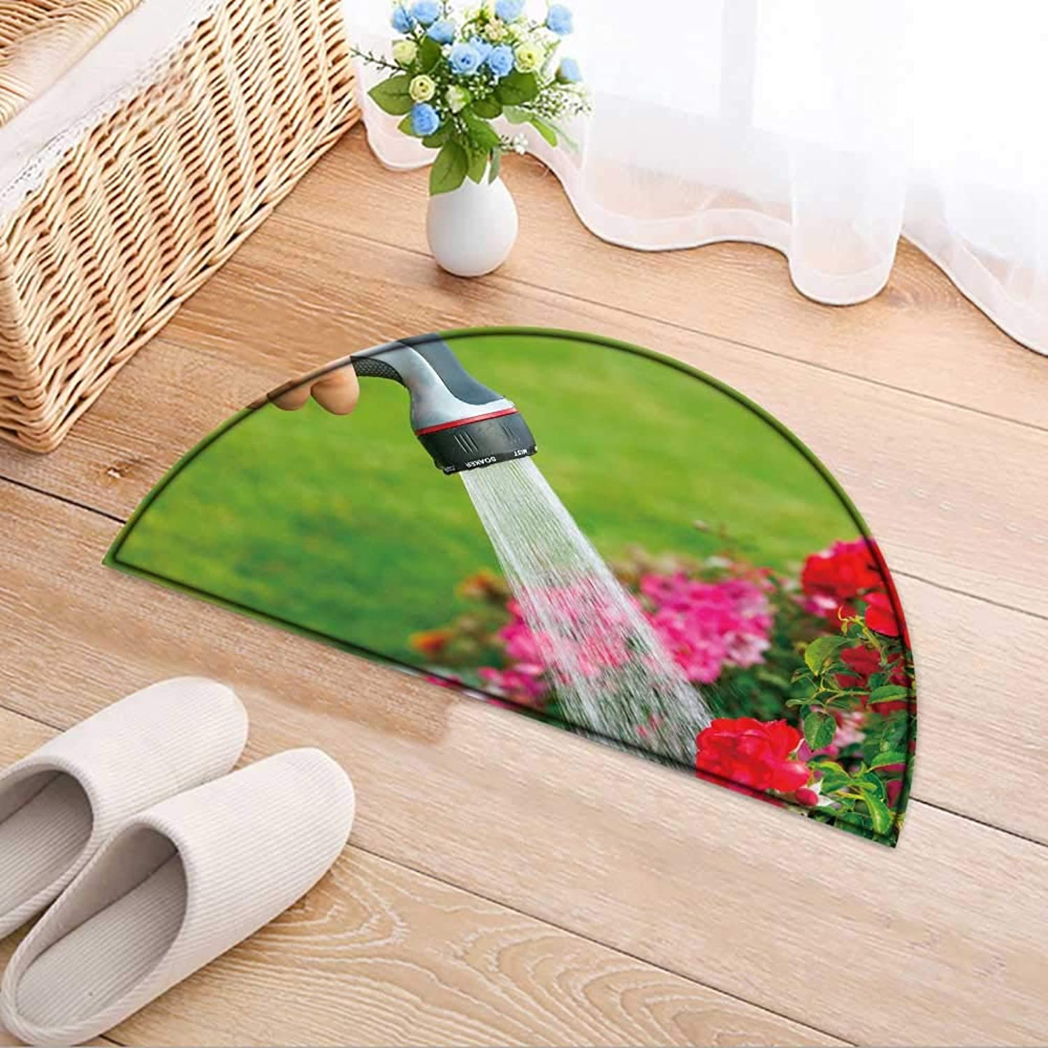 Entrance Hall Carpet Water Garden Flowers with Hose Non Slip Rug W47 x H32 INCH