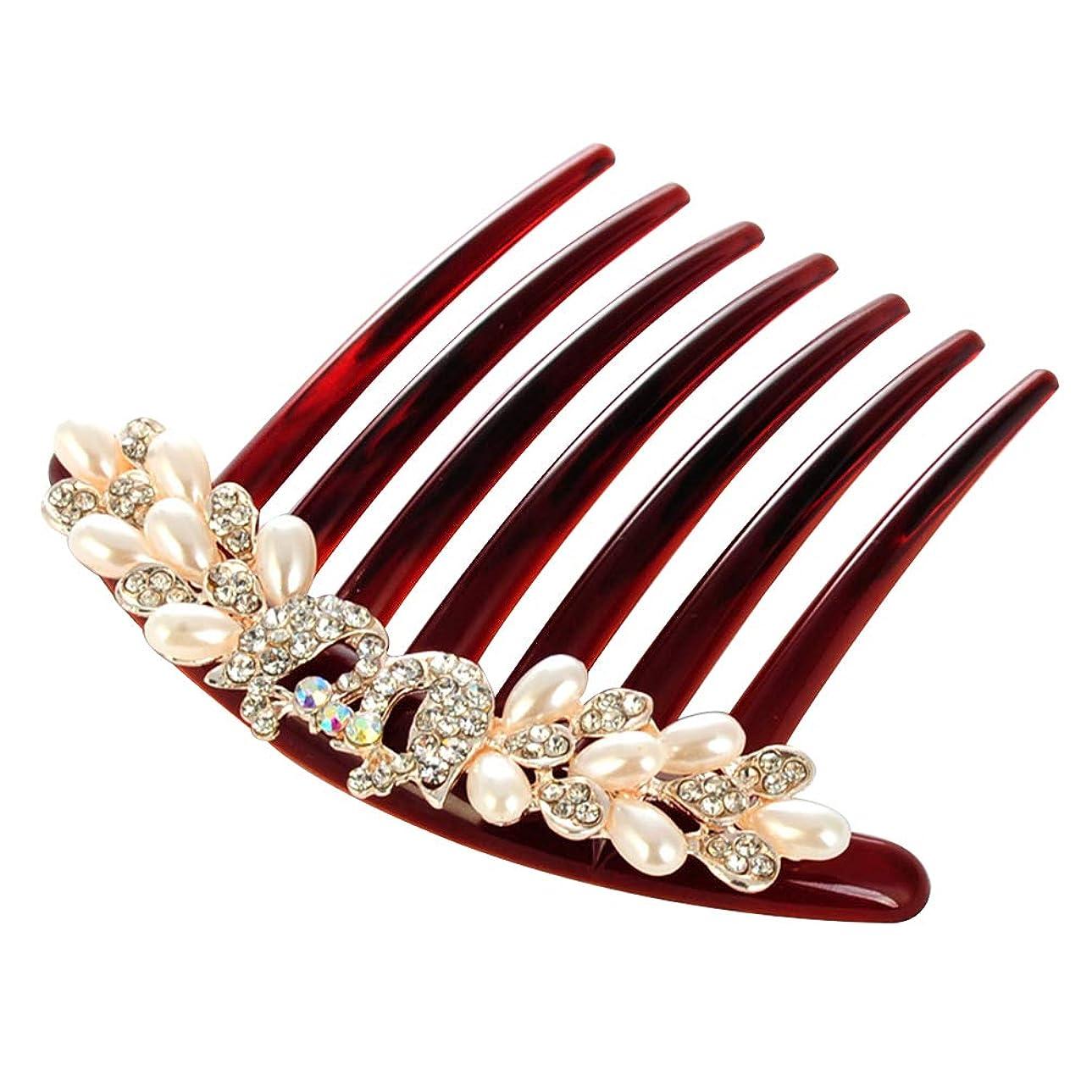 賛辞近傍緑LURROSE 模造真珠の髪の櫛のクリスタルヘッドドレス繊細なラインストーンの花嫁の髪飾り(孔雀)