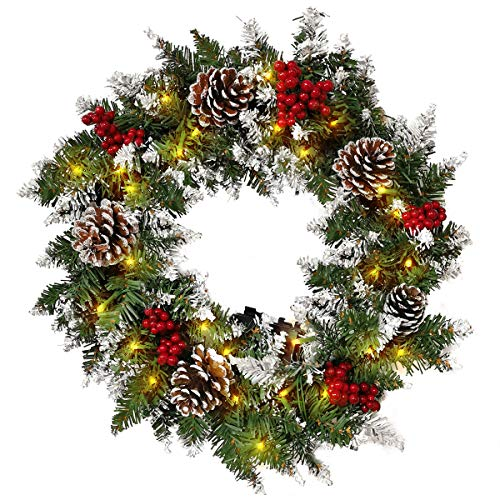 XIAOCAI Artificial Christmas Wreaths 18 Inch with LED Lighted and Mixed Decorations Pine Cones Berries Xmas Spruce Battery Operated for Front Door Windows Outdoor (White-18 inch)