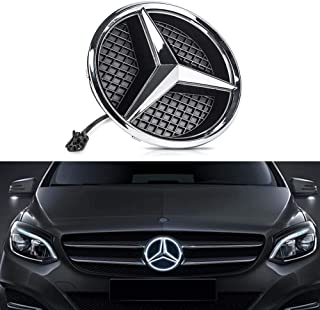 Bearfire LED Emblem Logo Grid LED Badge Front Light For Mercedes Benz 05-10 B Series/08-13 C Series/06-12 GLK Series (White, transparent grid)
