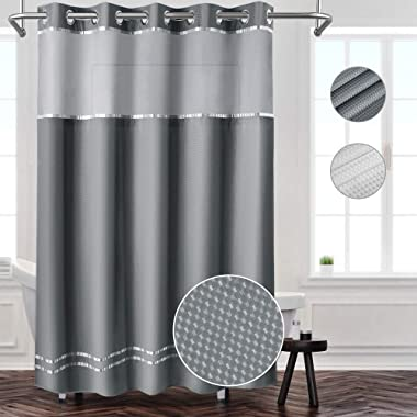 ANYEV Shower Curtain Gauze Polyester Fabric Waterproof Bathroom Curtain Hookless Thick (Grey)