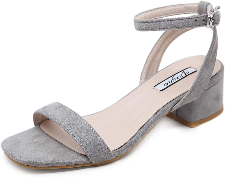 DNJKSA New Women's shoes 2019 Summer Korean Version Baitie Middle-Heel Rough-Heeled Open-Toed Student Button Rome