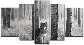 5 Panel Wall Art Painting Watchful Wolf Eyes in The Wild Prints On Canvas The Picture Animal Pictures Oil for Home Modern ...