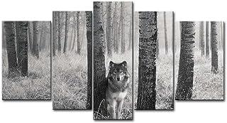 So Crazy Art Tableau Mural en 5 Panneaux avec Yeux de Loup regardant dans la Nature - Impression sur Toile - Image à l'hui...
