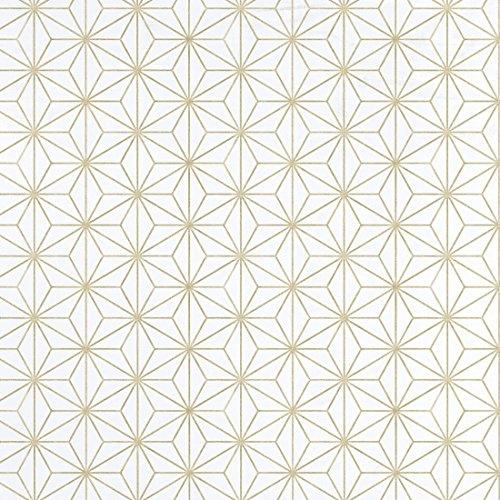 Equipo DRT 17949 Papel pintado geométrico estrellas, Oro