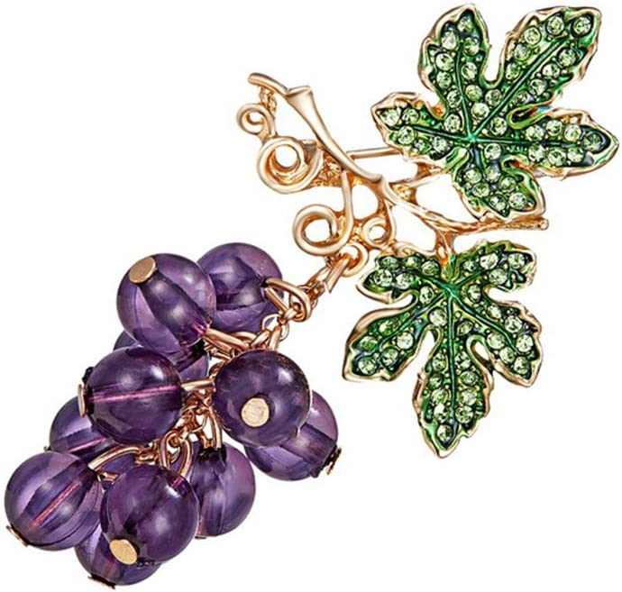 DONGMING Colored Rhinestones Crystal Grapes Fruit Brooch Pin for Women Cute Lapel Pin Jewelry Luxury Wedding Breastpin