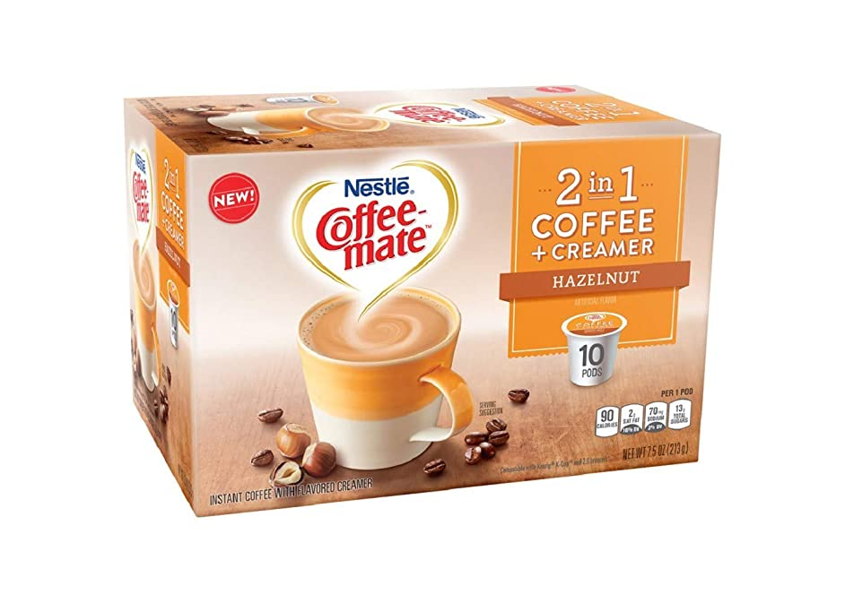 Coffeemate 2 in 1 Coffee & Creamer Hazelnut Medium Roast Coffee K-cup 10 pods, pack of 1