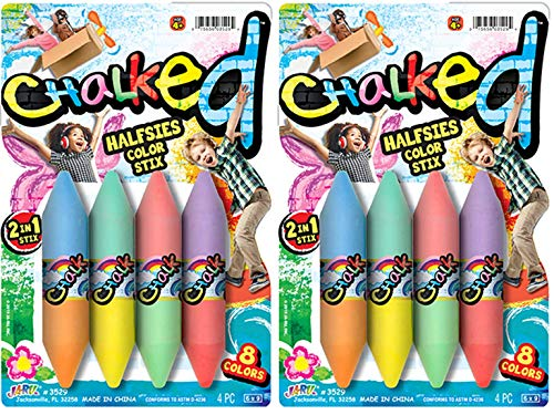 JA-RU Sidewalk Chalk Washable Chalkboard (2 Packs) 8 Color Set. Painting Art play Non Toxic Easy Grip Chalks Markers, Floor or Boards Kids Art Set Ultimate Colored Chalk Crayons. Party Favors 3529-2p