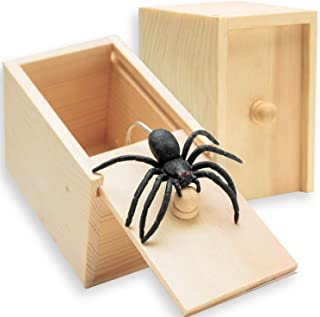 AHZI Handcrafted Solid Wood Surprise Box,Rubber Spider Prank Box,Fun Practical Surprise Joke Boxes,Hilarious Halloween Money Gift Box Surprise Toy and Gag Gift Practical Joke Single