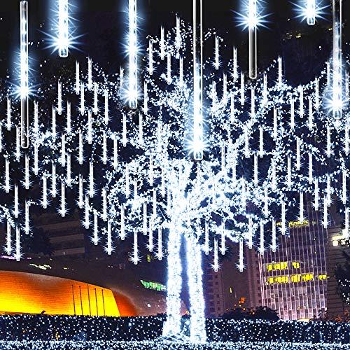 Meteor Shower Lights Icicle Lights Falling Rain Lights, JJGoo 12inch 8 Tube 192 LEDs Icicle String Lights for Christmas Trees Halloween Decoration...