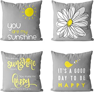 MIULEE Pack of 4 Decorative Cute Throw Pillow Covers Yellow On Grey Cushion Case Outdoor Shell Pillow Case for Car Sofa Bed Couch 18 x 18 Inch (Bird Sunshine Flower)