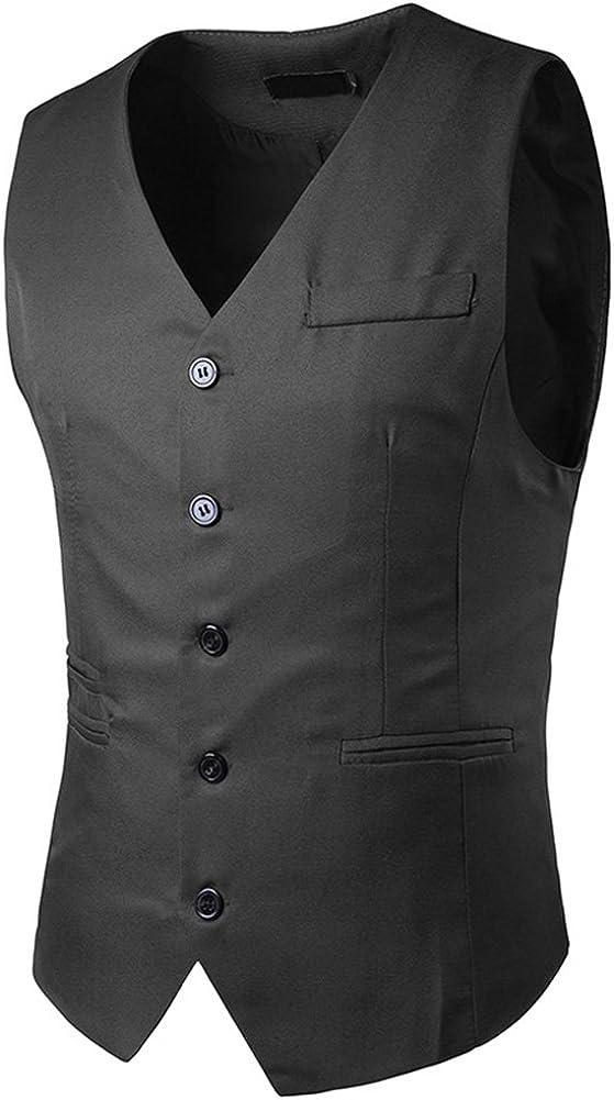 C2S Men's Simple Business Single Breasted Slim Fit Skinny Dress Vest Waistcoat