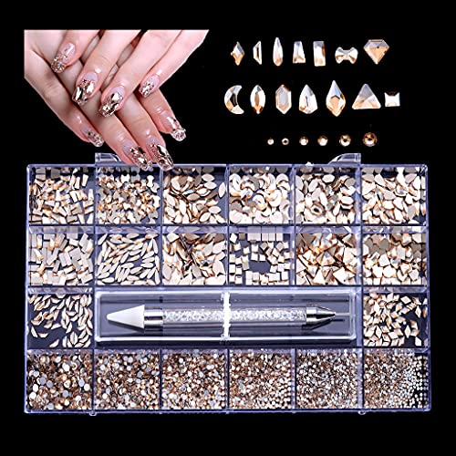 heilonglu Nail Art Jewelry Collar de Cuentas Irregulares Pulsera Nail Art DIY Art Crafts Cuentas de Cristal para Nail Art Ring Making DIY Nail Set