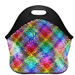 Rainbow & Silver Mermaid Sequins Insulated Lunch Tote Bag