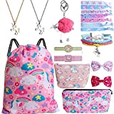 Mukum 12Pcs Drawstring Backpack for Unicorn Gift for Girl Include Makeup Bag Bracelet Necklace Hair Ties Cartoon Tattoo for Unicorn Party Favors (Pink)