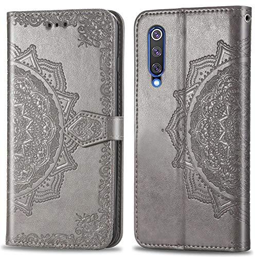 Bear Village Hülle für Xiaomi MI 9 SE, PU Lederhülle Handyhülle für Xiaomi MI 9 SE, Brieftasche Kratzfestes Magnet Handytasche mit Kartenfach, Grau