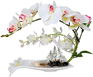 YSYDE Arreglos Florales de orquídeas Artificiales con jarrón de Porcelana Blanca decoración de Pieza Central de bonsái Ar...