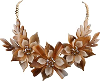 Niumike Lily Flower Necklaces for Women,Elegant Chunky Collar Necklace Set with Box