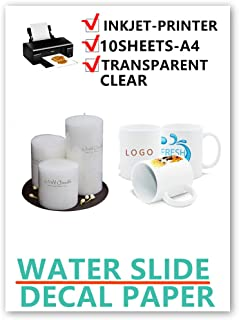 10sheets Ink-Jet Clear waterslide Decal Paper for Water Transfer DIY Candle Model Logo