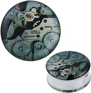 Chic Net Plug Tunnel orologeria acciaio verde acrilico Expander Piercing acciaio chirurgico