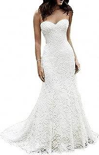 Women's Full Lace Beach Wedding Dress for Bride 2019 Mermaid Sweetheart Bridal Gowns K012