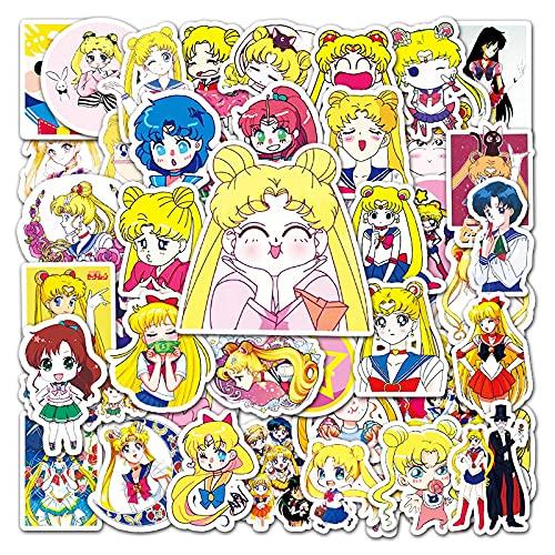 KEJIA Pegatinas de Dibujos Animados de Sailor Moon Sexy, Pegatinas de decoración de teléfono móvil con refrigerador de Maleta de Anime 51 Hojas