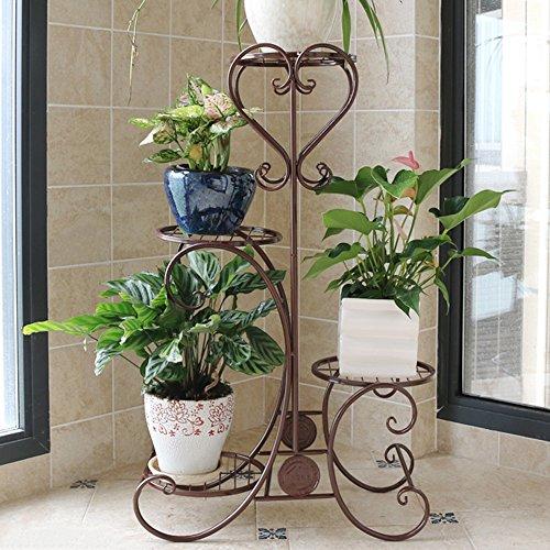 LJHA Support de fleur de fer Support de fleur de style étage multi-étages Support de pot de fleur balcon intérieur Cadre de bonsaï pliage simple moderne (3 couleurs en option) (taille en option) Des stands ( Couleur : C , taille : Four layers 49*82cm )