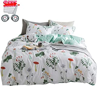 Fresh Flower Plants Duvet Cover Set Queen Soft Cotton Floral Bedding Set Queen 3 Piece Kids Girls Comforter Cover Set for Teens Children Zipper Closure Reversible Bedding Collection Queen