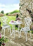 ABC Home Gartenmöbel Dornröschen 3tlg weiß Alluminium-Guss Gartenstuhl Gartentisch DS