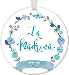 La Madrina Ornament 2019 Christmas Holiday Present for Spanish Godmother Newborn Baby Boy Special Aunt Female Relative Baptism Sponsor 3